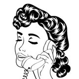 Pop art cute retro woman in comics style Royalty Free Stock Photos