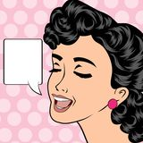Pop art cute retro woman in comics style Stock Image