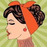 Pop art cute retro woman in comics style Stock Photography