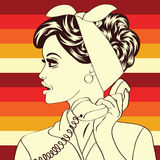 Pop art cute retro woman in comics style Royalty Free Stock Photography