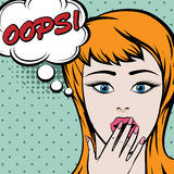 Pop art cute woman with OOPS sign Stock Images