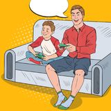 Pop Art Dad and Son Playing Video Game on a Game Console. Computer Gaming. Vector illustration Stock Photo