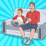 Pop Art Dad and Son Playing Video Game on a Game Console. Computer Gaming. Vector illustration royalty free illustration