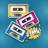 Pop art damn cartoons. Pop art damn music cassettes cartoons over colorful background vector illustration graphic design stock illustration