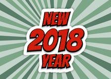 Pop art de cumprimento da bandeira do ano novo 2018 ilustração royalty free