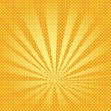 Pop-art de stralen als achtergrond van de zon zijn oranje en geel Stock Afbeeldingen
