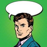 Pop art dell'uomo di conversazione retro illustrazione di stock