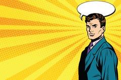 Pop art dell'uomo di conversazione retro illustrazione vettoriale