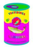Pop art delle sardine Fotografia Stock Libera da Diritti