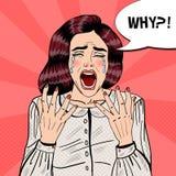 Pop Art Depressed Crying Woman Screaming därför Arkivbild