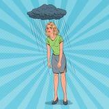 Pop Art Depressed Young Woman Under regnet Förvirrad besviken flicka Roligt vända mot Negativ sinnesrörelse stock illustrationer