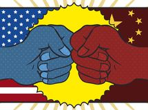 Pop Art Design Representing the Trade War: China and U.S.A., Vector Illustration vector illustration