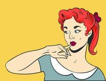 Pop art di pensiero della donna Immagine Stock