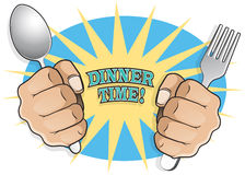 Pop Art Dinner Time Fists with Cutlery. Royalty Free Stock Photography