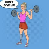Pop Art Disabled Woman with Leg Prosthesis in Gym with Barbell. Handicapped Sport. Paralympic Athlete. Vector illustration Royalty Free Stock Images
