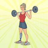 Pop Art Disabled Woman with Prosthesis in Gym. Handicapped Sport. Paralympic Athlete. Vector illustration Royalty Free Illustration