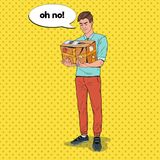 Pop Art Disappointed Man Holding Damaged Parcel. Unprofessional Delivery Service. Vector illustration Stock Photo