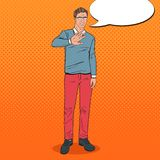Pop Art Disgusted Man. Guy Showing Stop Hand Sign. Vector illustration Royalty Free Stock Photography