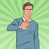 Pop Art Disgusted Man. Guy Showing Stop Hand Sign. Vector illustration Stock Photography