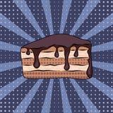 Pop art do bolo de chocolate na ilustração lilás do fundo Fotografia de Stock