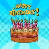 Pop art do cartão do feliz aniversario Fotos de Stock