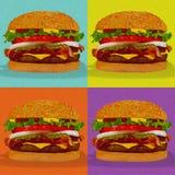Pop art do hamburguer Fotos de Stock Royalty Free