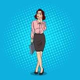 Pop Art Doubtful Business Woman med portföljen Arkivfoton