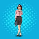 Pop Art Doubtful Business Woman met Aktentas Stock Foto's