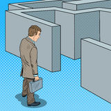 Pop Art Doubtful Businessman with Briefcase Standing in Front of Labyrinth royalty free illustration