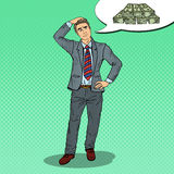 Pop Art Doubtful Businessman Dreaming about Money Royalty Free Stock Photography