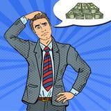 Pop Art Doubtful Businessman Dreaming over Geld vector illustratie
