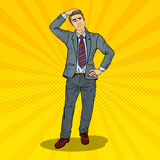 Pop Art Doubtful Businessman Making Decision. Vector illustration Royalty Free Stock Photos