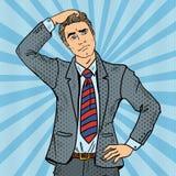 Pop Art Doubtful Businessman Making Decision. Vector illustration Royalty Free Stock Photography