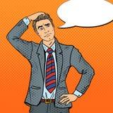 Pop Art Doubtful Businessman Making Decision. Vector illustration Royalty Free Stock Photo