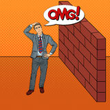 Pop Art Doubtful Businessman Standing in Front of a Brick Wall Royalty Free Stock Images