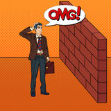 Pop Art Doubtful Businessman Standing in Front of a Brick Wall Stock Images