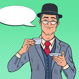 Pop Art English Man Drinking Tea on the Morning. Coffee Break. Vector illustration royalty free illustration