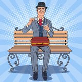 Pop Art Englishman Drinking Tea on the Bench in the Park. Coffee Break. Vector illustration Royalty Free Stock Photo