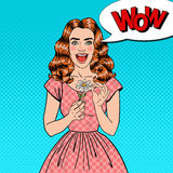 Pop Art Excited Beautiful Woman with Daisy Flower Royalty Free Stock Image