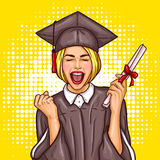 Pop art excited girl graduate student in a graduation cap and mantle with a university diploma in her hand. Pop art illustration of an excited young girl Royalty Free Stock Images