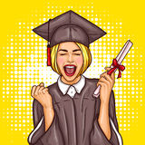 Pop art excited girl graduate student in a graduation cap and mantle with a university diploma in her hand. Vector pop art illustration of an excited young girl Stock Image
