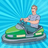 Pop Art Excited Man Riding Bumber Car at Fun Fair. Guy in Electric Car at Amusement Park. Vector illustration stock illustration