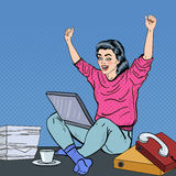 Pop Art Excited Young Woman with Laptop Sitting on the Office Desk with Papers Stock Images