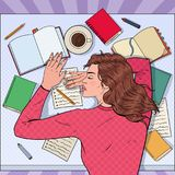 Pop Art Exhausted Female Student Sleeping on the Desk with Textbooks. Tired Woman Preparing for Exam. Vector illustration Royalty Free Stock Photo