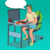 Pop Art Exhausted Man Playing Video Games. Computer Addicted Guy Royalty Free Stock Photography