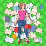 Pop Art Exhausted Student Lying op de Vloer onder Boeken Overwerkte Jonge Vrouw die voor Examens voorbereidingen treffen Het conc stock illustratie
