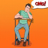 Pop Art Exhausted Student Sitting on the Desk During Boring University Lecture. Tired Handsome Man in College. Education. Concept. Vector illustration Stock Photos