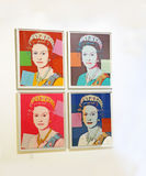 Pop Art Exhibit. A portrait of Queen Elizabeth which was reproduced four times in  pop art style, is Royalty Free Stock Image