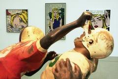 Pop art. Exhibition with works of Roy Lichtenstein as seen in Museumsquartier in Vienna, Austria Stock Photos