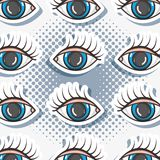 Pop art eyes patch background design. Vector illustration Royalty Free Stock Photos
